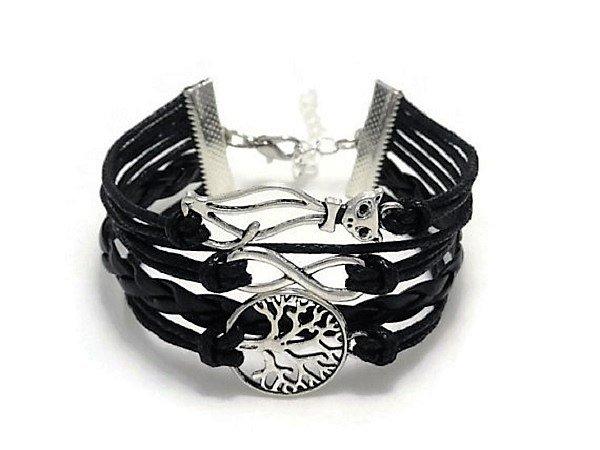 Boho Multi-Layer Handmade Infinity Cat Life Tree Leather Wrap Bangle Love Friendship Bracelet