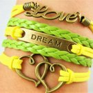 Bohemian Multilayer Handmade Infinity Bronze Double Heart Leather Wrap Love Friendship Bracelet