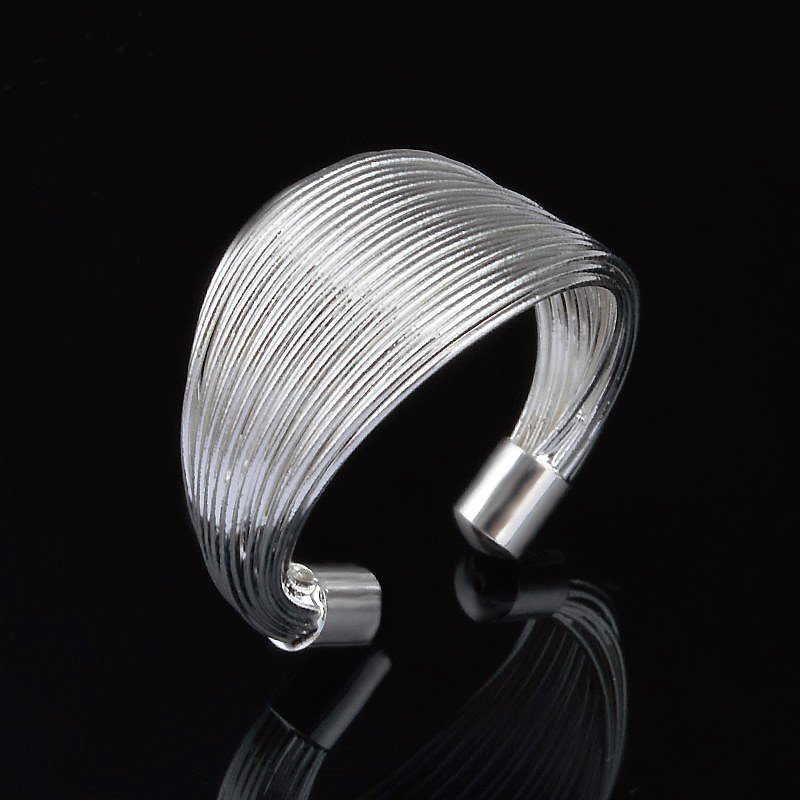 Elegant Classic 925 Sterling Silver Plated Gathered Adjustable Open Thumb Ring