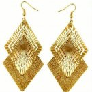 Fashion Chic Bohemian Gold Plated Frosted Rhombic Swing Dangle Earrings