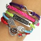 Romantic Multi-Layer Handmade Infinity Owl Multi-Color Leather Braided Wrap Bangle Bracelet