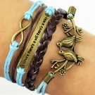 Boho Multi-Layer Handmade Infinity Birds Love birds Leather Wrap Bangle Bracelet