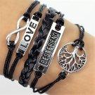 Boho Multi-Layer Handmade Infinity Life Tree Leather Wrap Bangle Love Friendship Bracelet