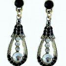 Elegant Silver Crystal Rhinestone Cubic Zirconia Studded Indian Chandelier Teardrop Earrings
