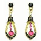 Elegant Red Crystal Rhinestone Cubic Zirconia Studded Indian Chandelier Teardrop Earrings