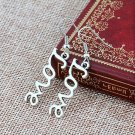 Romantic Sterling Antique Silver Plated Love Letter Drop Dangle Fishhook Earrings