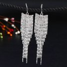 Stunning Romantic Silver Plated Crystal Rhinestone Long Chain Dangle Tassels Hook Linear Earrings