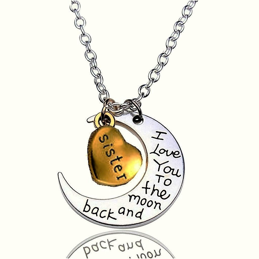 Engravement Family Message �I Love You To The Moon and Back� Antique Silver/Gold Sister Necklace