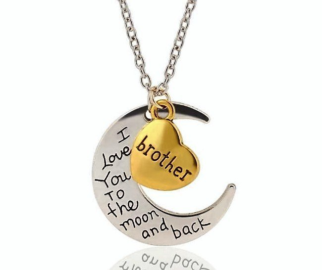 Engravement Family Messages �I Love You To The Moon and Back� Silver/Gold Brother Necklace