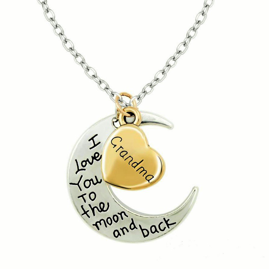 Engravement Family Messages �I Love You To The Moon and Back� Silver/Gold Grandpa Necklace