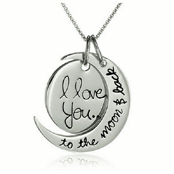 Elegant Engravement Messages �I Love You To The Moon and Back� Antique Silver Pendant Necklace
