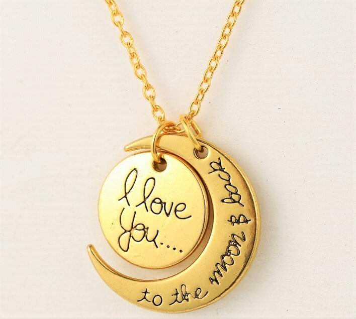 Elegant Engravement Messages �I Love You To The Moon and Back� Gold Plated Pendant Necklace