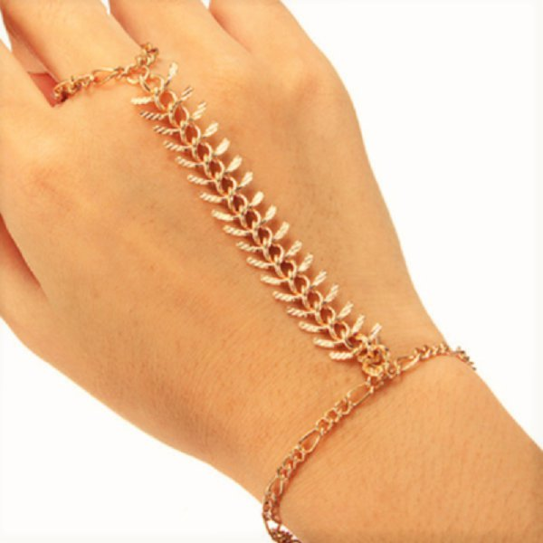 Chic Boho Gold Plated Slave Finger Ring Fish Bone Rib Wrist Link Chain Cuff Bangle Bracelet