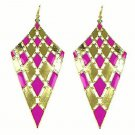 Elegant Chic Gold Plated Purple Bohemian Gypsy Quadrangle Chandelier Long Drop Dangle Earrings