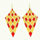 Elegant Chic Gold Plated Orange Bohemian Gypsy Quadrangle Chandelier Long Drop Dangle Earrings