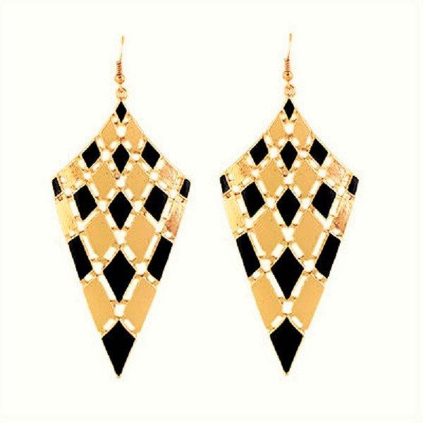 Elegant Chic Gold Plated Black Bohemian Gypsy Quadrangle Chandelier Long Drop Dangle Earrings