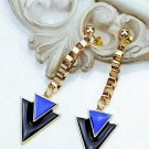 Elegant Punk Rockstar Black and Blue Triangle Gold Plated Chain Drop Earrings