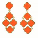 Chic Bohemian Gold Plated Chandelier Orange Clover Flower Drop Dangle Earrings