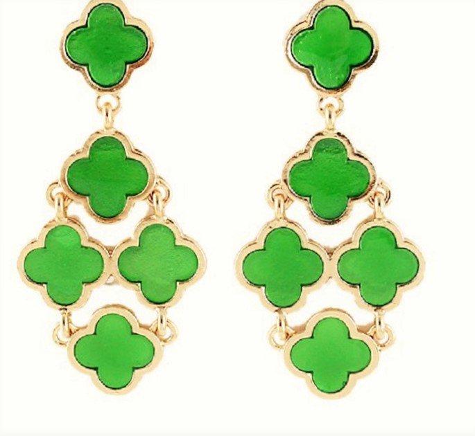Chic Bohemian Gold Plated Chandelier Green Clover Flower Drop Dangle Earrings