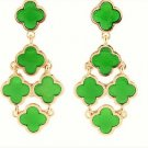 Chic Bohemian Gold Plated Chandelier Green Clover Flower Drop Dangle Earrings