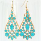 Elegant Bohemian Baby Blue Chandelier Gemstone Teardrop Flower Dangle Earrings
