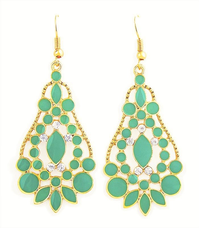 Elegant Bohemian Turquoise Green Chandelier Gemstone Teardrop Flower Dangle Earrings
