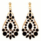 Elegant Bohemian Black Chandelier Gemstone Teardrop Flower Dangle Earrings