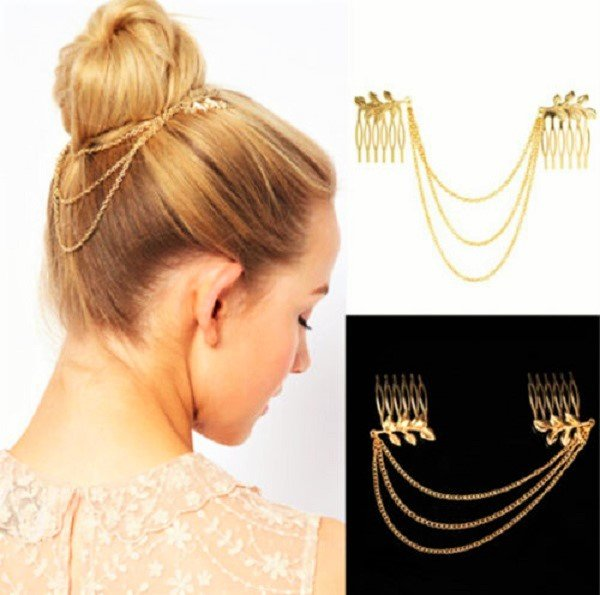 Greek Goddess Boho Fashion Beauty Lady Gold Leaf Hair Comb Clip Cuff Tassel Chain Head Headpiece
