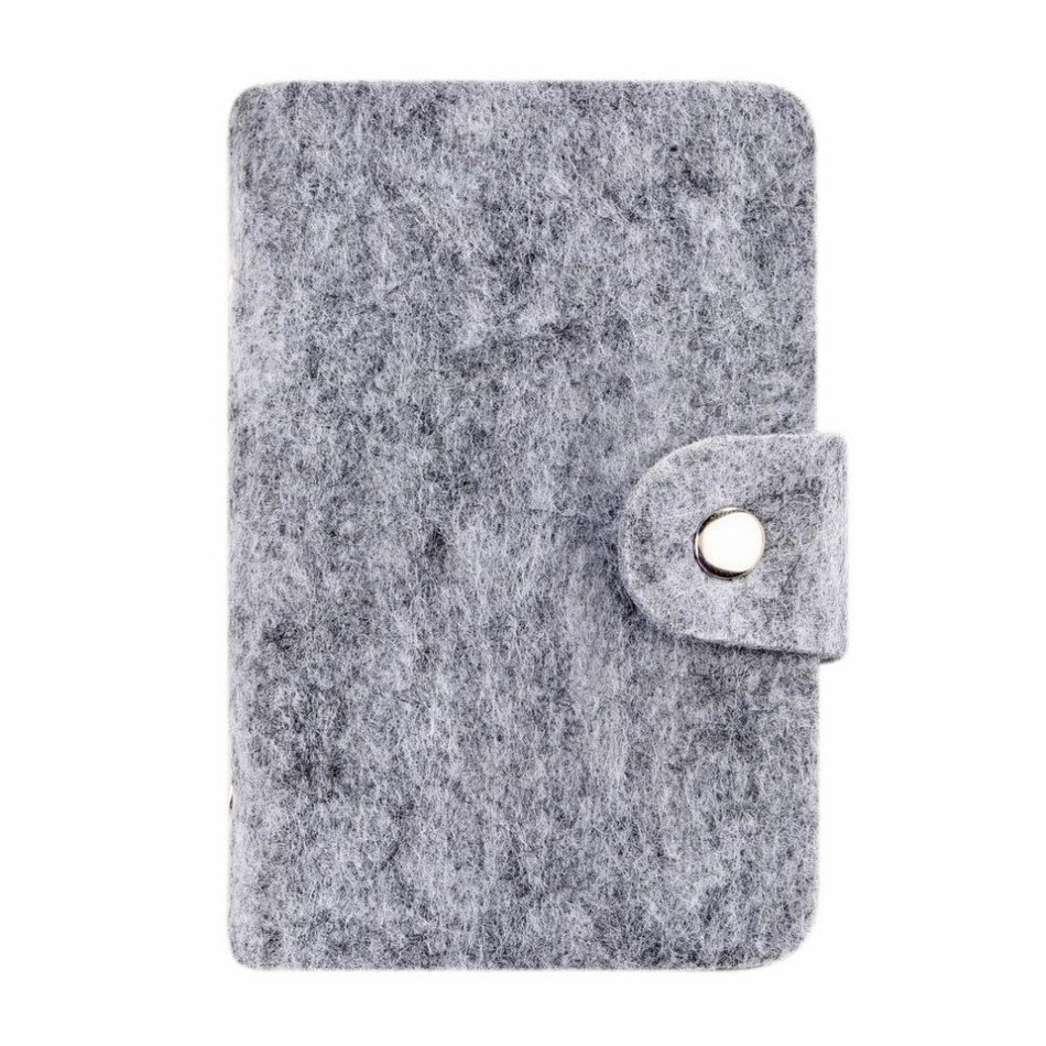 Fashion Retro Light Gray Women Pouch ID Credit Card Wallet Cash Holder Organizer Case Box Pocket