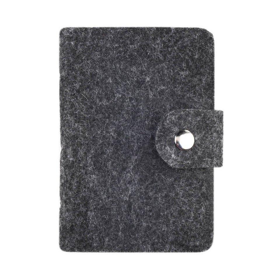 Fashion Retro Dark Gray Women Pouch ID Credit Card Wallet Cash Holder Organizer Case Box Pocket