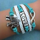 Fashion Retro Bohemian Romantic Love Elephant Multi-Layer Woven Pu Leather Bracelet