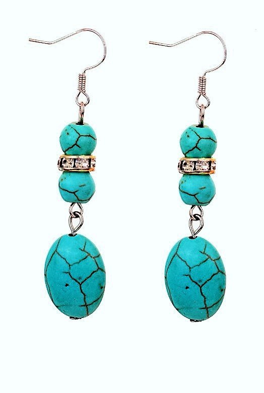 Fashion Bohemian Ethnic Tibetan Water Drop Silver Turquoise Gemstone Dangle Hook Earrings