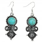 Bohemian Ethnic Tribal Tibetan Silver Turquoise Gemstone Moustache Pendant Hook Earrings