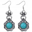 Bohemian Ethnic Tribal Tibetan Silver Noble Crown Turquoise Gemstone Dangle Pendant Hook Earrings