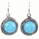 Fashion Bohemian Ethnic Tibetan Grills Circle Silver Turquoise Gemstone Dangle Hook Earrings