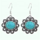Fashion Bohemian Ethnic Tibetan Wild Orchid Silver Turquoise Gemstone Dangle Hook Earrings
