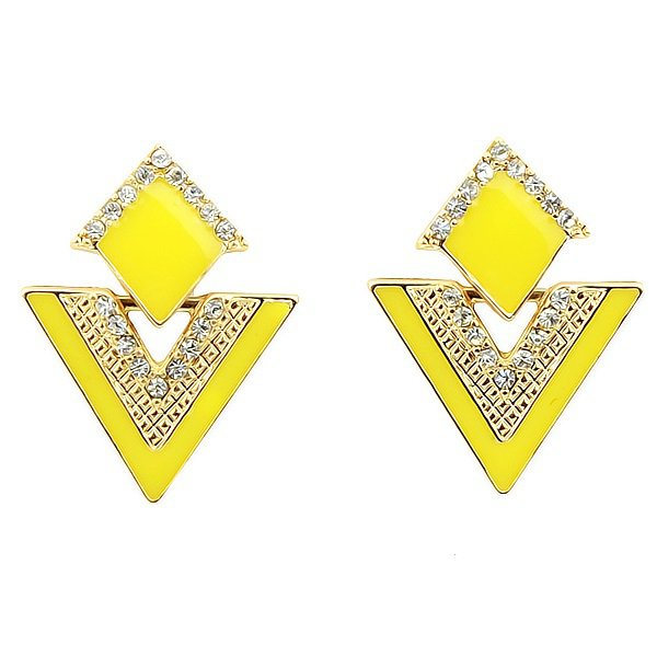 Elegant Gold Plated Yellow Double Triangles Crystal Drop Dangle Statement Earrings