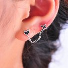 Gothic Fashion Punk Retro Double Hole Cross Heart Long Chain Stud Earrings