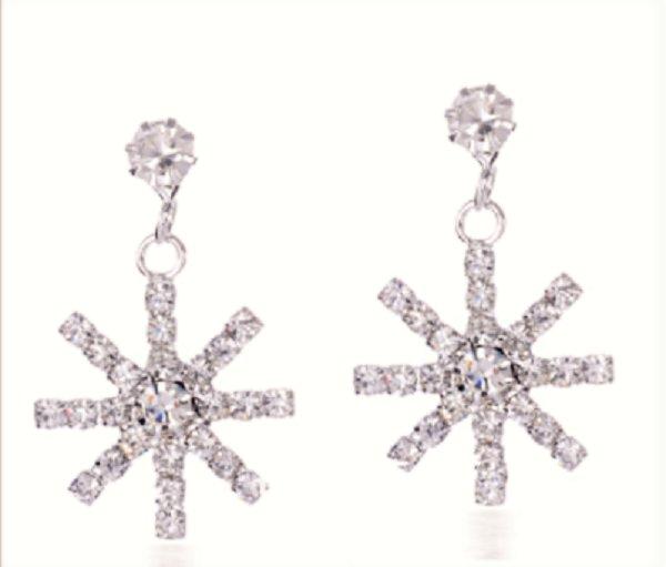Snow Snowflake Ice Cold Crystal Rhinestone Dangle Drop Earrings