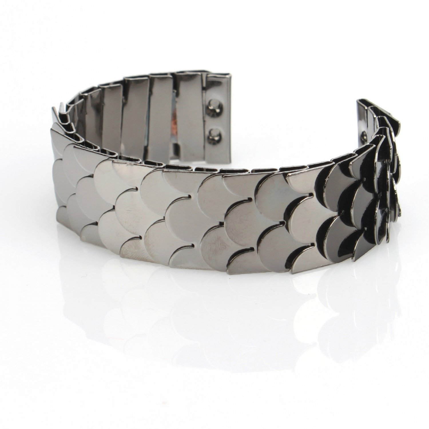 Elegant Designer Inspired Gun Black Metal Fish Scale Cuff Bangle Bracelets