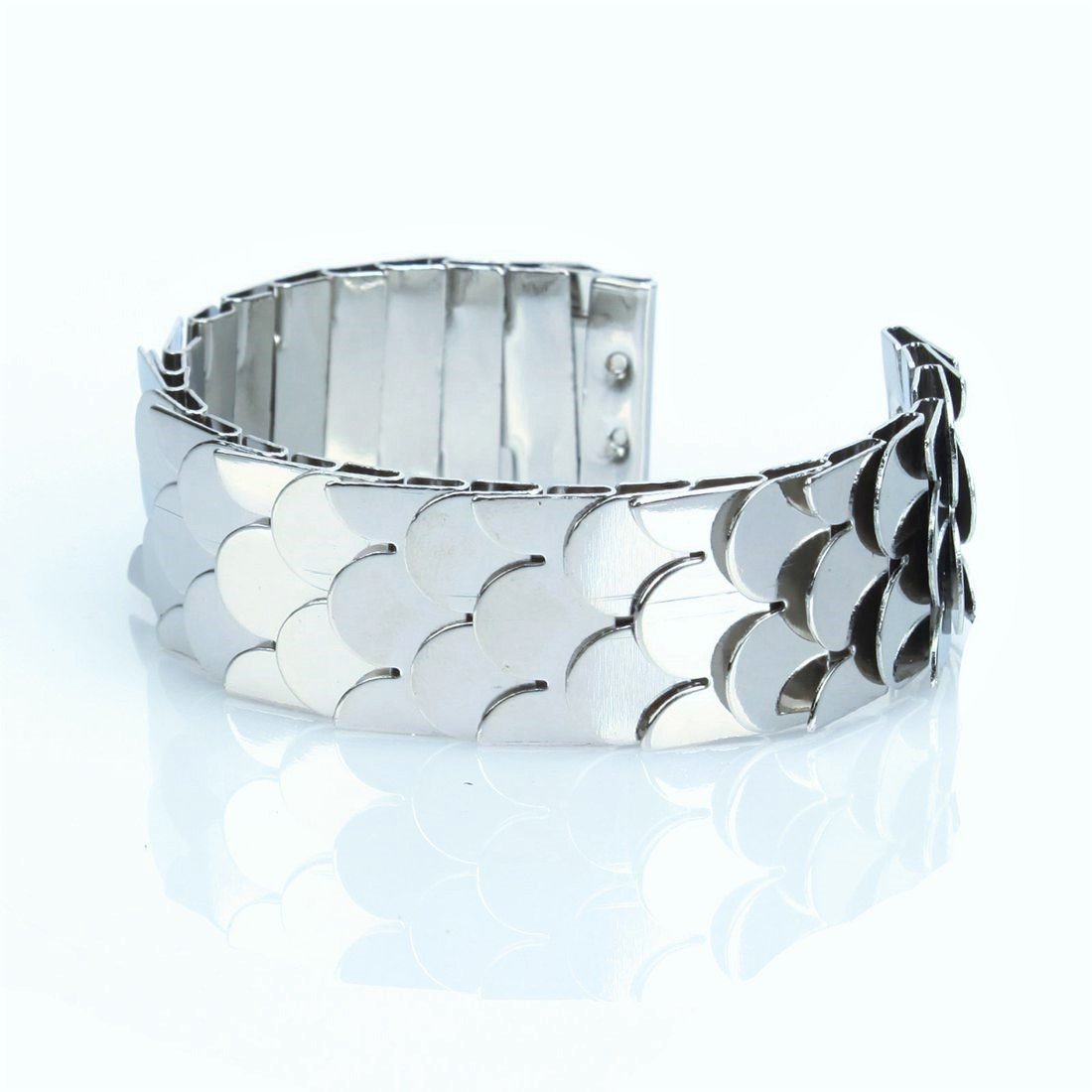 Elegant Designer Inspired Silver Plated Metal Fish Scale Cuff Bangle Bracelet