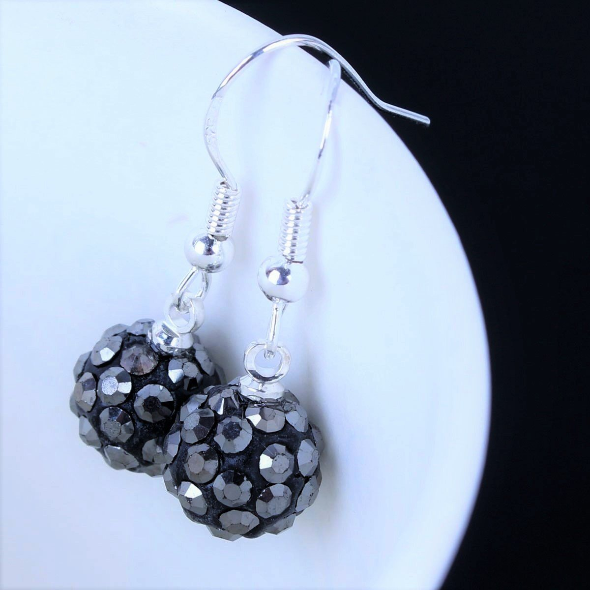 Elegant Dark Silver Grey Crystal Micro Pave Disco Ball Drop Shamballa Stud Earrings