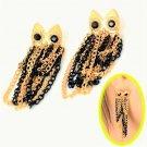 Black Eyes Owl Gold Plated Black Tassels Chain Dangle Owl Earrings