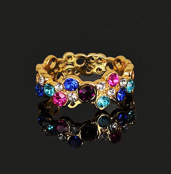 Elegant Chic Multicolor Shining Rainbow Crystal Knuckle Ring