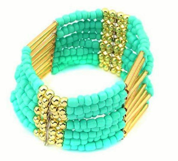 Light Blue Bohemian Multilayers Tassel Rice Beads Trendy Chic Luxury Style Bracelet