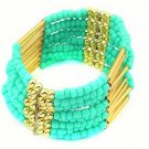 Light Blue Bohemian Multilayers Tassel Rice Beads Trendy Chic Luxury Style Bracelet