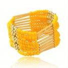 Yellow Bohemian Multilayers Tassel Rice Beads Trendy Chic Luxury Style Bracelet