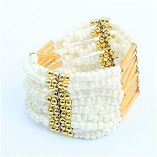 White Bohemian Multilayers Tassel Rice Beads Trendy Chic Luxury Style Bracelet