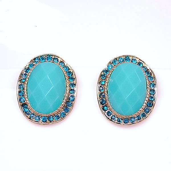Navy Blue Rimmed Rhinestone Crystal Turquoise Gems Oval Stud Earrings