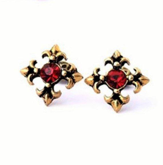 Vintage Antique Gold Retro Crystal Flowers Cross Stud Earrings